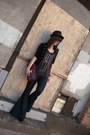 Navy-70s-flares-almost-famous-jeans-black-maurices-hat