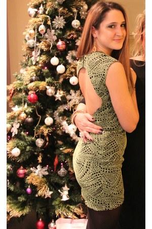 olive green Miu Miu dress - gold Chanel earrings
