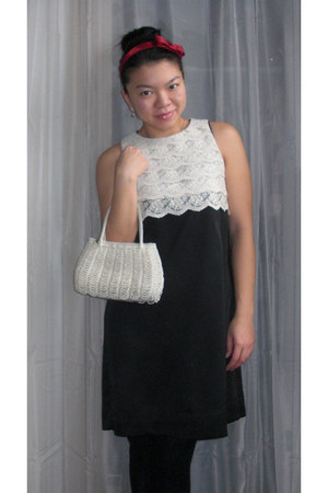 black Ceci Tokyo dress - white unknown brand purse