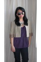 black ann taylor jeans - beige Diane Von Furstenberg blazer - purple H&M sunglas