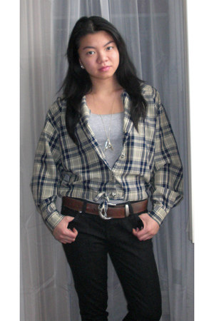 black Arizona jeans - blue plaid Hong Kong jacket - heather gray Aeropostale top
