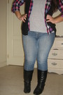 Gray-t-shirt-black-vest-purple-top-black-boots