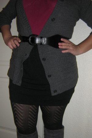 gray boots - black tights - gray cardigan - red top - black skirt