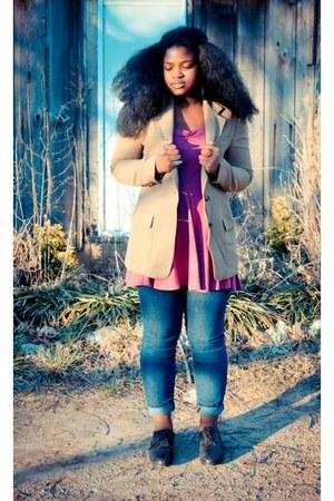 camel blazer - black shoes - bubble gum strapless dress - navy jeans