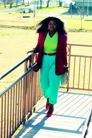 pumps - fusia blazer - lime green shirt - high-waisted pants