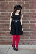 black noto dress - red American Apparel tights - black thrifted heels