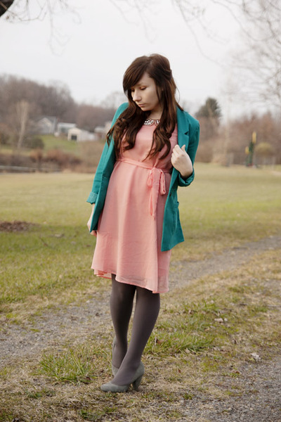 turquoise blue H&M blazer - coral modcloth dress - charcoal gray Express tights