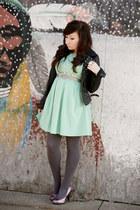 modcloth dress - BB Dakota jacket - Express tights - Gabriel Brothers heels
