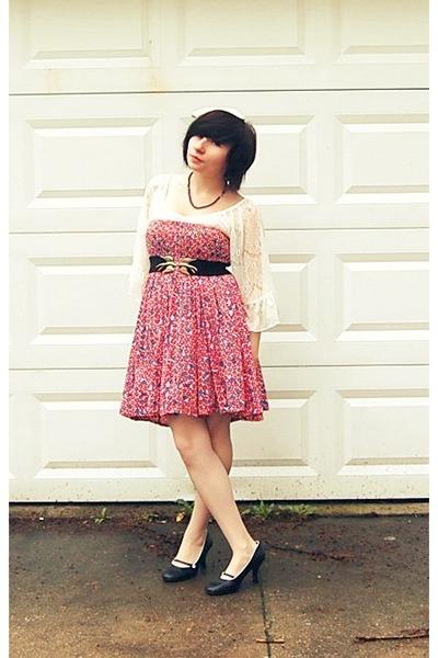 thrifted dress - Wet Seal shirt - sisters heels - Urban Outfitters belt