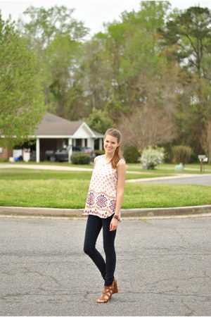 carrot orange Pink Blush top - navy Forever 21 jeans