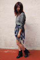 black shoemint boots - gray RVCA dress - blue Forever 21 shirt