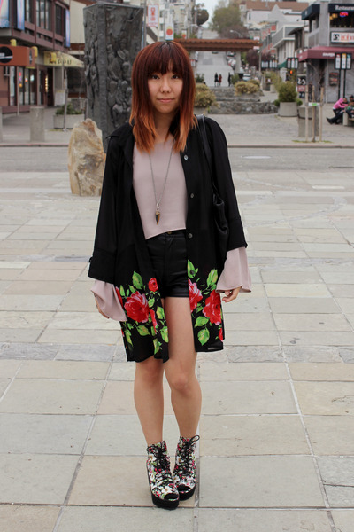 black SoleStruck boots - black thrifted jacket - black Cotton Candy shorts