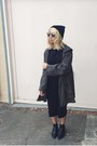 Black-acne-boots-black-forever-21-dress-dark-green-nasty-gal-jacket