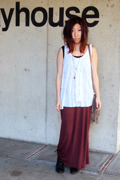 white fringed free people top - maroon brandy melville skirt