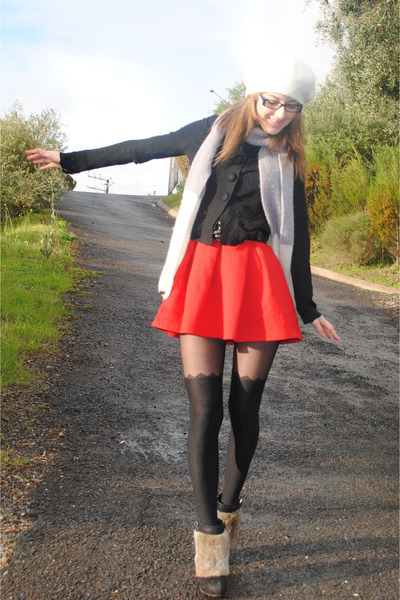 Alannah Hill stockings - Zara dress - Mimco scarf - Alannah Hill cardigan