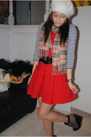 red Zara dress - beret Forever New hat - sailor stripe Alannah Hill jacket - Bur