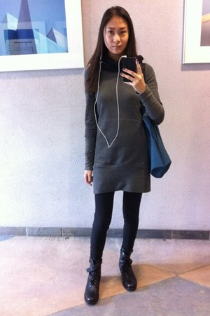 black military style Via Spiga boots - charcoal gray Initial dress - black ruche