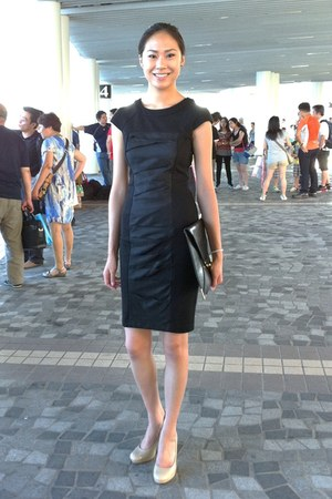 ted baker dress - black asos purse - black patent franco sarto pumps