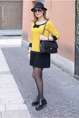 yellow Twin Set dress - black Nando Muzi shoes - black H&M hat