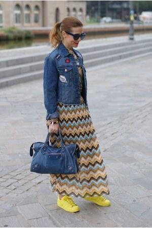 yellow Adidas sneakers - blue Stradivarius jacket - blue balenciaga bag