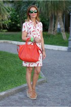 red longchamp bag - ivory happiness dress - green mirror Oakley sunglasses