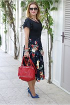 black floral print asos skirt - ruby red pandora Givenchy bag