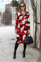 ruby red wrap dress Diane Von Furstenberg dress - black Roberto Botticelli boots
