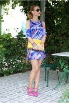 blue Nina Ademar dress - yellow Rebecca Minkoff bag - black asos sunglasses