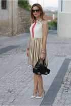 black braccialini bag - mustard pleated Jovonna dress