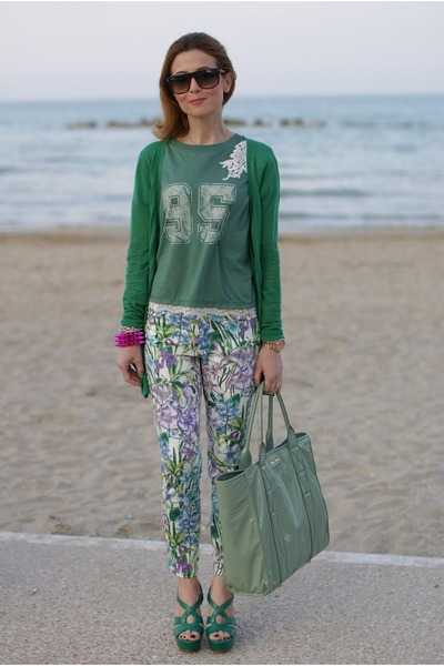 floral pants Zara pants - lime green Miu Miu bag