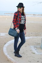 black Zara sweater - black fedora H&M hat - ruby red checked PERSUNMALL jacket