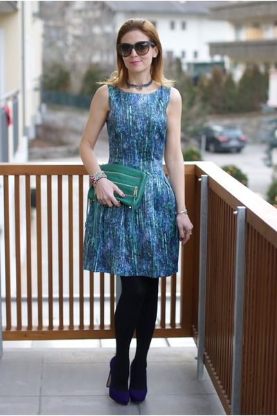 green Rebecca Minkoff bag - blue sequin print Zara dress