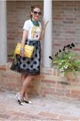 White-blackfive-dress-yellow-rebecca-minkoff-bag