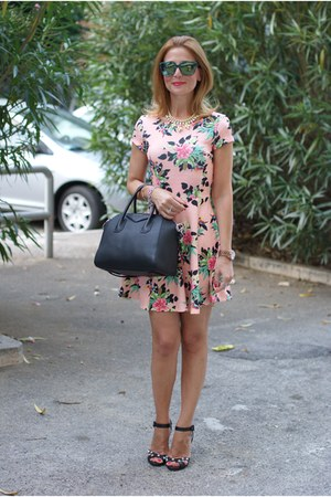 black antigona Givenchy bag - pink floral print Bershka dress