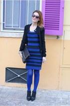 striped French Connection dress - stilettos cesare paciotti boots