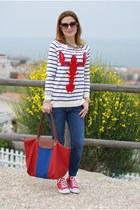 white lobster print asos sweater - blue Zara jeans - red le pliage longchamp bag