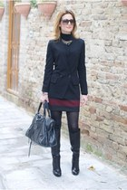 black guess by marciano boots - black Carla G jacket - black balenciaga bag