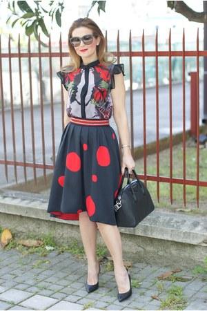 black zaful skirt - black Givenchy bag - black Dolce & Gabbana sunglasses