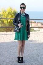 green lace Sheinside dress - black Today Im me bag - green Oakley sunglasses