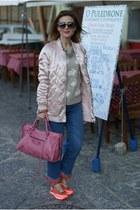 bubble gum balenciaga bag - light pink Stradivarius jacket