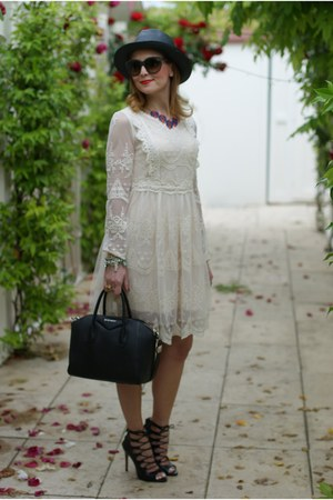 black panama Ecua-andino hat - cream lace Chicwish dress - blue Zara jacket