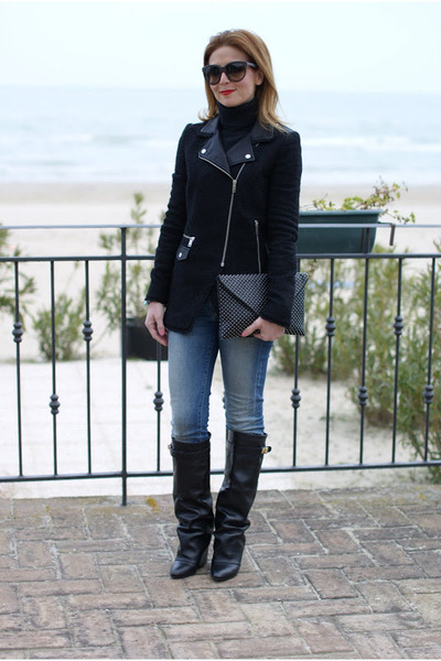 black Zara jacket - black Choies boots - black Zara bag