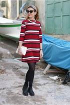 black Florens boots - red Zara dress - white Miu Miu bag