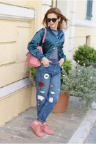 teal bomber Choies jacket - blue Pull & Bear jeans - bubble gum balenciaga bag