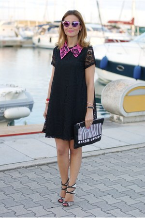 black blackfive dress - black Zara bag