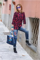 red plaid Zara shirt - black cesare paciotti boots - blue Zara jeans