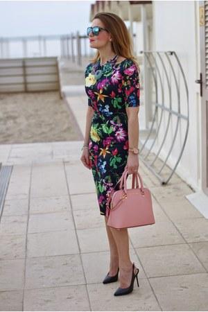 bubble gum Michael Kors bag - navy floral print AX Paris dress