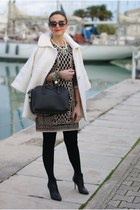 White coat, baroque print dress
