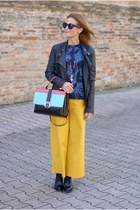 black Paula Cademartori bag - mustard Zara pants - navy H&M top