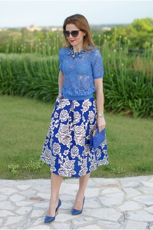 blue lace yumi t-shirt - blue Zara bag - blue Sergio Levantesi pumps